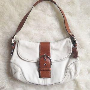 Coach Soho buckle white and caramel leather bag